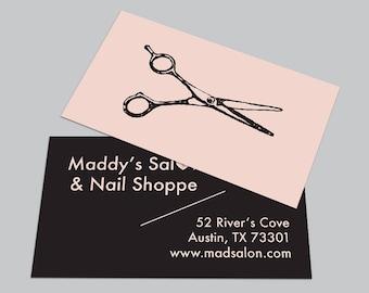 Barber business card etsy custom printed cards 100 full color retro scissors hairdresser stylist business card salon colourmoves