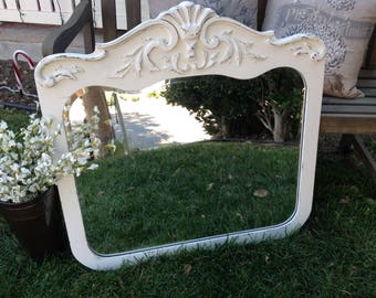 White Shabby-chic wall mirror, White  Farmhouse wall mirror, Farmhouse wall decor, Shabby-chic wall decor, Local SoCal Pick-up/Delivery Only