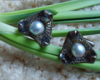 Ming's Pearl Jewelry, Ming's of Hawaii Sterling Silver Cuff Links, Vintage Black Pearl Cuff Links, Vintage Hawaiian Jewelry
