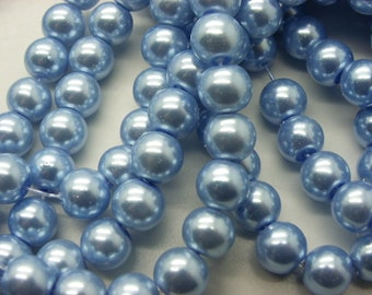 50 8 mm blue glass pearl beads