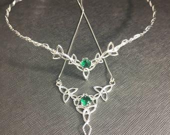 Celtic Wedding Circlet Necklace Set, Irish Sapphire or Emerald Bridal Tiara Set, 925 Celtic Necklace, Irish Wedding Sets, Victorian Wedding
