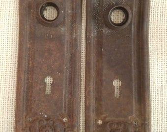 Vintage door plate, antique escutcheon metal door hardware, architectural salvage, rustic decor, artist mixed media assemblage supplies