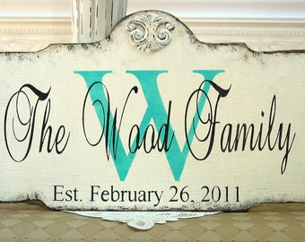 PERSONALIZED monogram family name custom wood sign for wedding anniversary housewarming