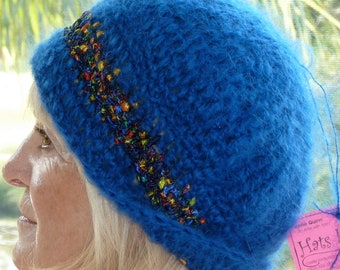 Cute blue winter hat in women's fashions, super warm and comfortable hat, unique versatile style hat, original handcrafted crochet hat