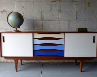Mid Century shades of Blue CREDENZA media stand