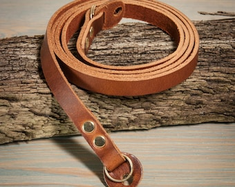 10mm Chestnut Leather camera strap with Brass rivets and rings