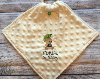 Punk in training mini minky blanket wood teething ring wooden teether pacifier holder embroidery embroidered baby teddy bear cute