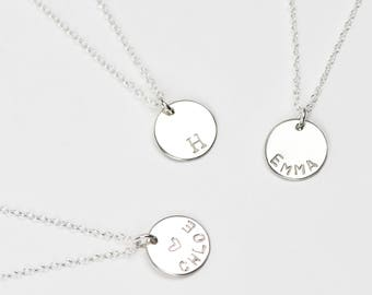 Personalised Silver Disc Necklace • Sterling Silver Name Necklace • Initial Necklace • Silver Disk Necklace • Personalised Necklace