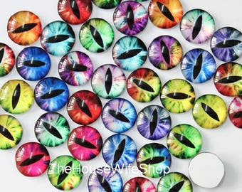 50pcs/lot Dragon Eyes Corses Round Glass Cabochon Dome Jewelry Finding Cameo Pendant Settings