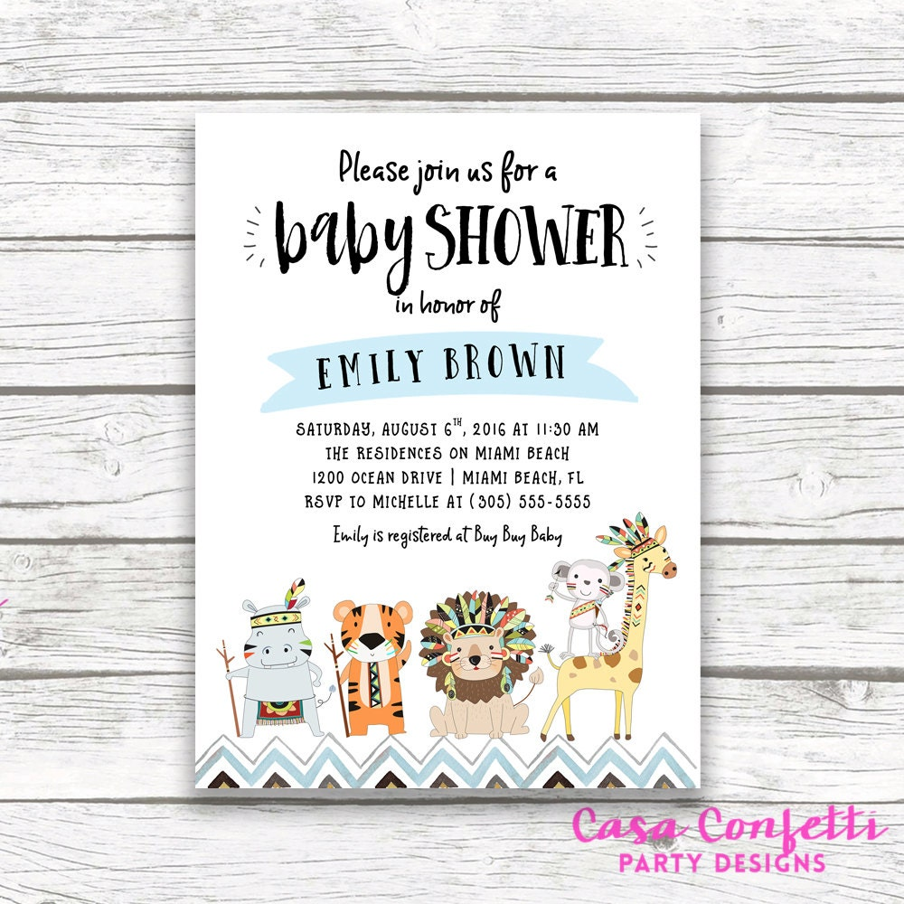 Safari Baby Shower Invitation, Animal Baby Shower Invitation, Gender ...