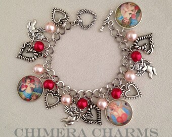 Cupid's Arrow Victorian Cupids Valentine's Day Charm Bracelet with Czech Glass Pearls