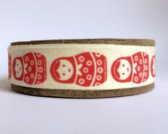 5m Matryoshka Russian Doll Babushka print fabric cotton ribbon trim tape - red - 5 metre reel