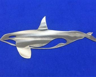 Orca Whale Metal Wall Art Decoration Skilwerx 14x7 Ocean Nautical Marine Sea Life Beach House
