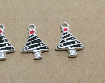 Christmas Tree Charms x 5 Silver Enamel Metal Pendant Finding 18mm Scrapbooking Jewellery #118