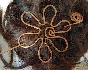 Gift-for-Mom Hair Barrette Clothing Gift-for-Her Birthday Gift Flower Copper Wire Hair Barrette  - Large Hair Barrette