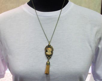 Polymer clay cameo necklace