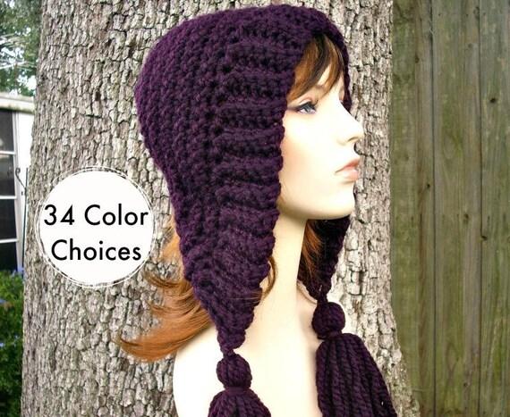 Womens Crochet Hat Womens Hat Crochet Hood Tassel Hat in Eggplant Purple Crochet Hat - Purple Hat Purple Hood Womens - 34 Color Choices