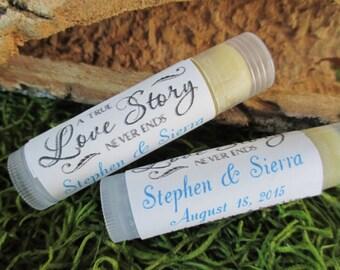 Love Story Wedding Lip Balm Favors Organic Lip Balm Wedding Favor Personalized Lip Balm Favors Custom Lip Balm Wedding Favor Bridal Lip Balm