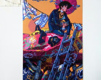 "Cowboy Bebop poster - 12 x 18"", illustration, wall art, spike spiegel, print, anime, spike, swordfish, music, movie, classic, spaceship"