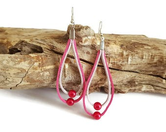 Pink suede and Pearl Earrings