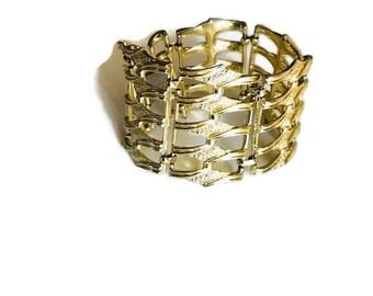 CORO Vintage Gold Tone Wide Link Bracelet