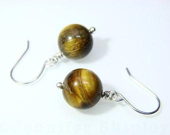 Tiger Eye Dangle Earrings: Healing Chatoyant Gemstone Drop Earrings Wire-Wrapped with Nickel-Free, Hypoallergenic Copper, Silver, Gold