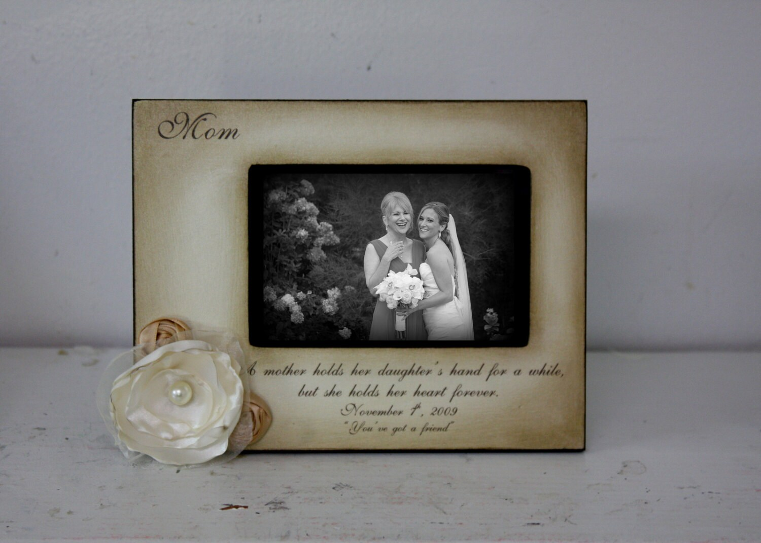 Mother Daughter 5x7 landscape Wedding Frame Bride Keepsake
