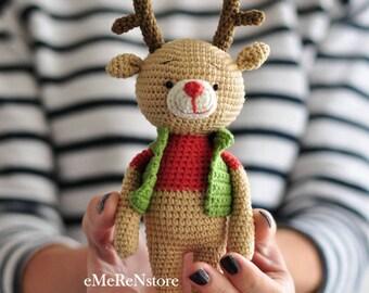 Crochet pattern of cute deer, Deer in Vest, Amigurumi Pattern, Christmas Crochet pattern, INSTANT DOWNLOAD, PDF file in english