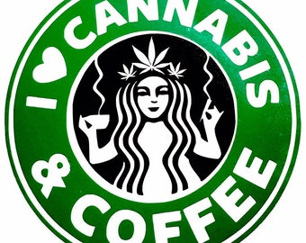 DIY I Love Cannabis & Coffee Vinyl Decal, Coffee Cup Decal, Laptop Decal, Car Window Decal, Drinkware Decal, Stainless Steel Cup Vinyl Decal