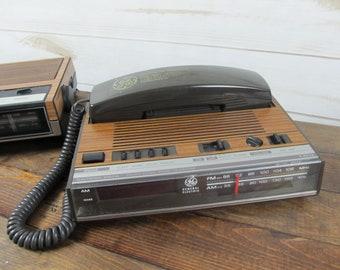 Vintage General Electric GE Clock Radio Telephone Wood