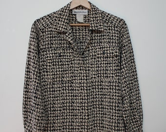 Vintage 80s Houndstooth Button up Blouse S/M