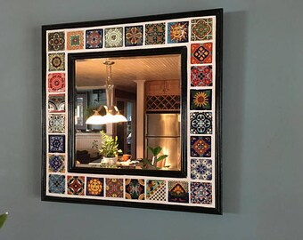 Mexican Talavera Tile Decorative  Wall Mirror-