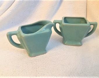 Zanesville Ohio USA Art Deco Cream and Sugar Seacrest Green Aqua Teal   #187