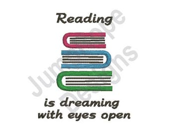 Reading Is Dreaming - Machine Embroidery Design