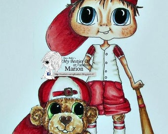 INSTANT DOWNLOAD  Digital Digi Stamps Big Eye Big Head Dolls Bestie Bats and Bears By Sherri Baldy