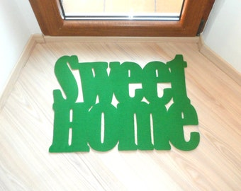 """Inauguration home gift """"Sweet home"""" floor mat. Personalized doormat. Cool rug"""