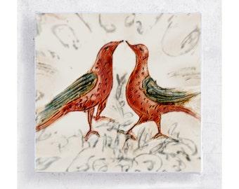 Wedding Wall Art - Lovebirds Art Block - 5x5 Canvas Print on Wood Frame - Kiss Me, You Fool - Bird Fraktur Folk Art - Wall Art - Home Decor