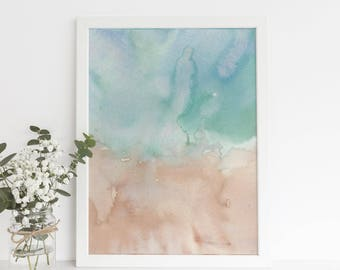 Modern Beach Decor, Beach Art, Ocean Abstract Painting, Minimalist Download, Coastal Nursery Art, Printable Wall Art, Original Watercolor