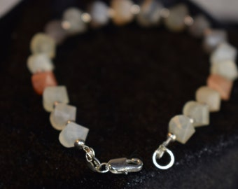Hand Cut Moonstone Gemstones with 925 Sterling Silver Findings