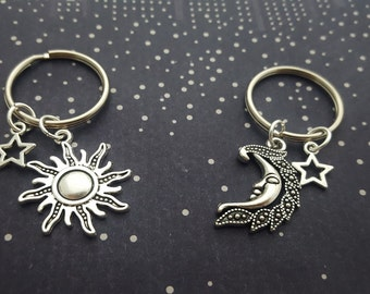 Sun And Moon Keyrings, Friendship Set, Celestial Keychains, BFF Keyrings, Space Keychain, Accessory Set, Sun Charm, Moon Charm, Best Friends