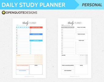 Personal Daily Study Planner, Personal Planner Printable, Filofax Personal Filofax Inserts, Daily Planner, Student Planner