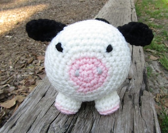 Connie the Crochet Cow Plush Animal. Handmade Roly-Poly Barnyard Buddy. Amigurumi Style Toy Cow. Toybox Toy for Kids. Stuffed Toy Cow.