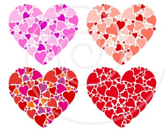 Red heart digital clip art set for printable mother's day card, birthday, wedding anniversary, cardmaking, scrapbooking, EPS, SVG, download