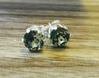 Black Diamond Swarovski Crystal Sterling Silver Earrings