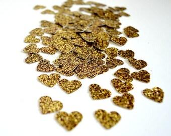 Gold Heart Confetti - Gold Glitter Wedding Decoration - Glitter Party Shower - Table Scatter - 50th Anniversary - Glitter Confetti Hearts