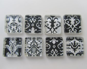 Damask Fridge Magnets - Fun  Mix Refrigerator Magnets Set of 8