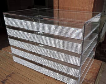 Rhinestone Acrylic Makeup 5 Drawer Compartment Makeup Organizer Small Letter Organizer