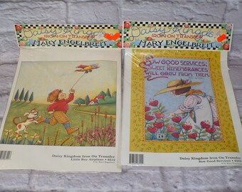 Lot of 2 Daisy Kingdom MARY ENGELBREIT Iron On Transfers Sow Good Services Little Boy Airplane