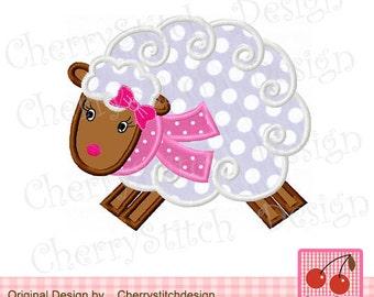 "Sheep  Winter Machine Embroidery Applique Design for girls - 4x4 5x5 6x6"""