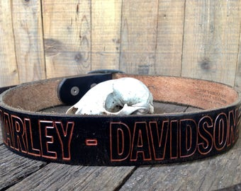Vintage Harley Davidson belt / tooled leather belt / vintage leather belt / womens leather belt / size 27 leather belt